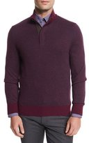 Ermenegildo Zegna Birdseye Cashmere-Blend Quarter-Zip Sweater, Purple