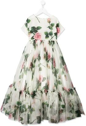Dolce & Gabbana Kids Tropical Rose Print Flared Dress