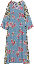 Thumbnail for your product : Anjuna Fiammetta Paneled Floral-print Silk-blend Crepe De Chine And Fil Coupe Georgette Kaftan