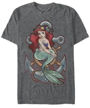 Disney Princess Disney Men's The Little Mermaid Ariel Vintage Anchor Tattoo Style Short Sleeve T-Shirt