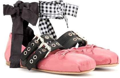 Miu Miu Buckle-embellished patent leather ballerinas