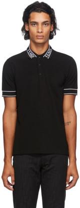 Fendi Black Logo Collar Polo