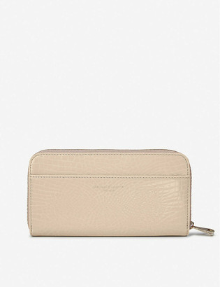 Aspinal of London Crocodile-embossed patent-leather continental clutch wallet