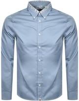 Pretty Green Marshall Long Sleeved Shirt Blue