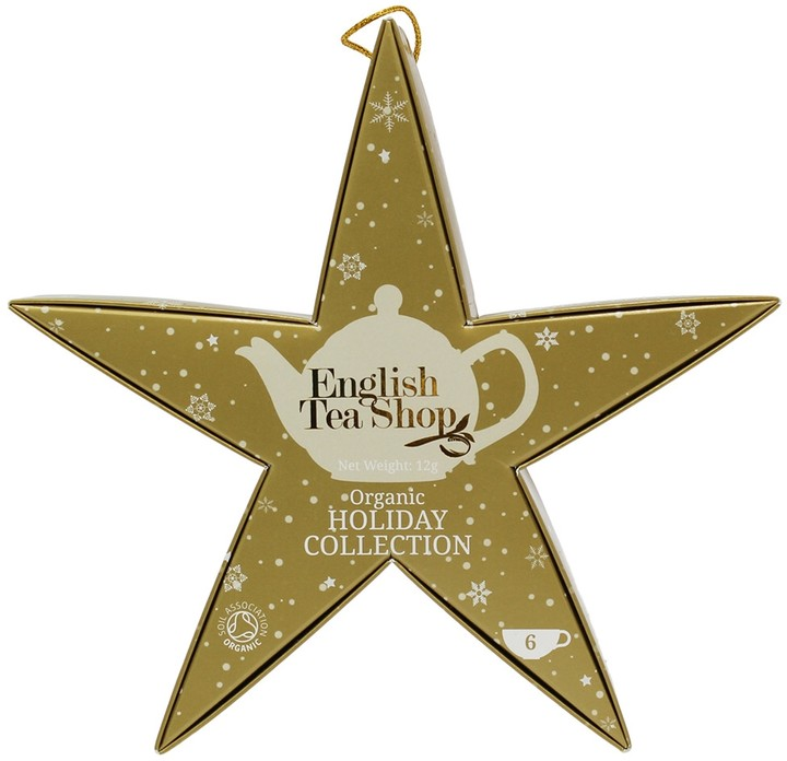 ENGLISH TEA SHOP Christmas Holiday Collection Gold Star Filled With Organic Tea Bags X 6