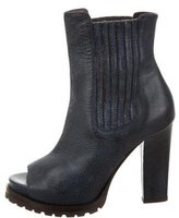 Brunello Cucinelli Leather Peep-Toe Ankle Boots w/ Tags