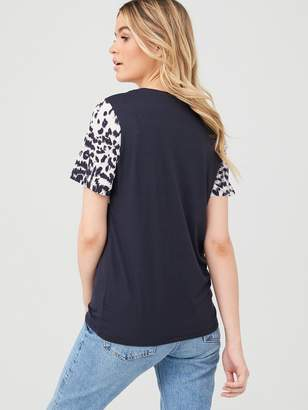 Very Woven Panel Print Tee - Black Animal