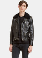 Saint Laurent Men's Vintage Look Shearling Collared Biker Jacket In Black