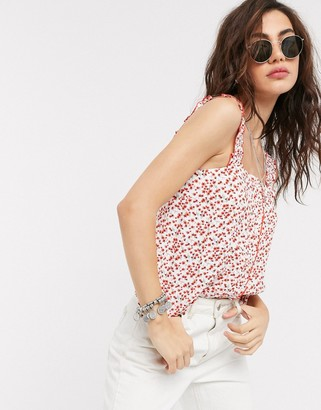 Topshop cami top with button front in ditsy floral print