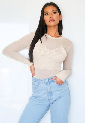 Missguided Stone 2 Piece Sheer Cami Knitted Top