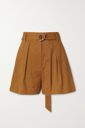 Tibi Belted Pleated Linen-blend Shorts - Camel