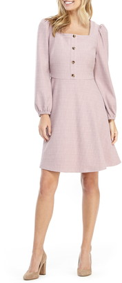 Gal Meets Glam Greta Square Neck Long Sleeve Fit & Flare Dress