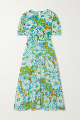 Faithfull The Brand Net Sustain Beline Smocked Floral-print Crepe Midi Dress - Blue
