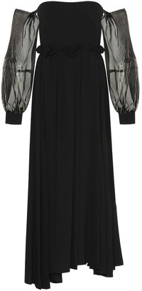 Loewe Wool-crepe off-the-shoulder gown