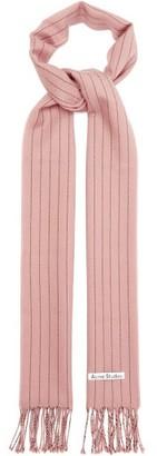 Acne Studios Vonnie Striped Wool Scarf - Pink White