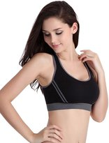 Feoya Women's Shockproof Sport Bra Gym Workout Fitness Tees Size L