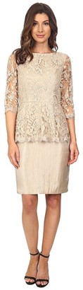 Adrianna Papell Women's Floral Embroidered Peplum Sheath