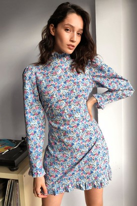 Nasty Gal Womens Once and Floral Puff Sleeve Mini Dress - Blue - 4, Blue