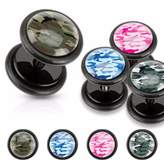 Camouflage Print Inlayed Black Acrylic Fake Freedom Fashion Plug (Sold by Pair)