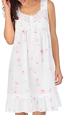 Eileen West Floral Print Swiss-Dot Cotton Nightgown