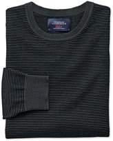 Charles Tyrwhitt Black and Grey Merino Wool Crew Neck Sweater Size Large