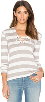 Bobi Slub Stripe Lace Up Detail Hoodie