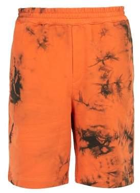 Helmut Lang Tie-dye Cotton Shorts - Mens - Orange Multi