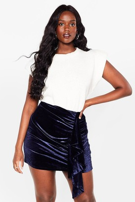 Nasty Gal Womens Can You Feel It Plus Velvet Mini Skirt - Navy - 16