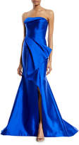 Rubin Singer Strapless Draped Silk-Wool Evening Gown w/ Draped Front Panel