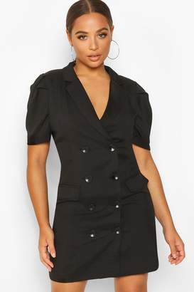 boohoo Double Breasted Puff Shoulder Blazer Dress