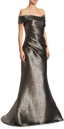 Rene Ruiz Collection Off-The-Shoulder Metallic Gown