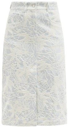 MSGM Leaf-jacquard Denim Skirt - Light Blue