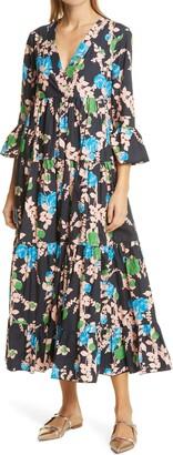 La DoubleJ Floral Tiered Ruffle Cotton Dress