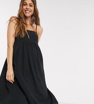 ASOS DESIGN Maternity cami midi tiered crinkle sundress in black