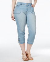 Style&Co. Style & Co. Plus Size Tummy-Control Blossom Wash Capri Jeans, Only at Macy's