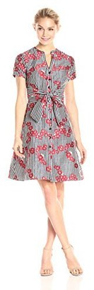 Adrianna Papell Women's Petite Gingham and Floral Flared Shirt Dress