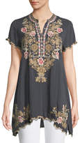 Johnny Was Talum Embroidered Scalloped-Hem Tunic
