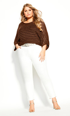City Chic Cool Crochet Top - mink