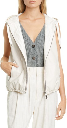 Brunello Cucinelli Reversible Leather & Taffeta Hooded Vest