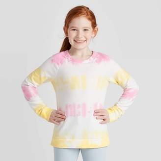Cat & Jack Girls' Tie-Dye Pullover Sweatshirt - Cat & JackTM Pink/Yellow
