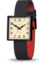 Newgate Clocks - Cube Watch - Black/Black Leather