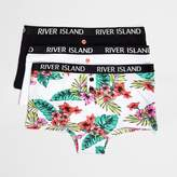 River Island Girls Black tropical print hipsters multipack