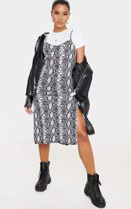 PrettyLittleThing Monochrome Snake Print Split Jersey Midi Dress
