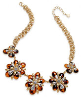 Charter Club Gold-Tone Tortoise-Look and Crystal Floral Statement Necklace, Created for Macy's