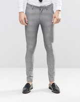 Asos Super Skinny Suit Trousers In Grey Ombr