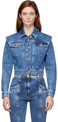 Versace Blue Denim Crop Jacket