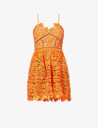 Self-Portrait Azealea floral-embroidered lace mini dress