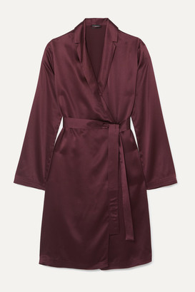 La Perla Belted Silk-satin Robe - Burgundy