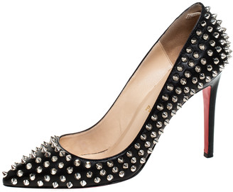 Christian Louboutin Black Leather Pigalle Spikes Pumps Size 40.5