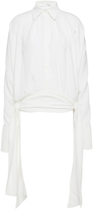 Victoria Victoria Beckham Draped Knotted Satin-crepe Blouse